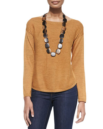 Alpaca Long-Sleeve Top, Annato, Women's