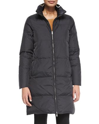 Reversible Down Puffer Coat, Black, Women's