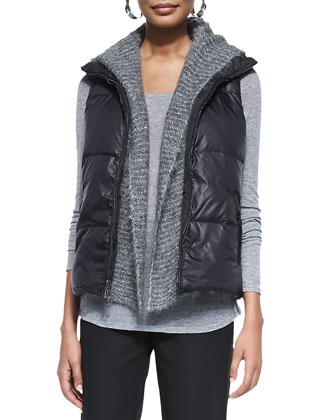 Puffer Reversible Vest, Airy Alpaca Mesh Vest, Long-Sleeve Superfine Tee & ...