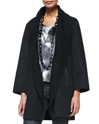 Brushed Wool-Blend Coat w/ Ribbed Shawl Collar, Petite