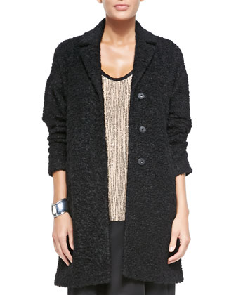 Curly Alpaca Boxy Coat, Black, Petite