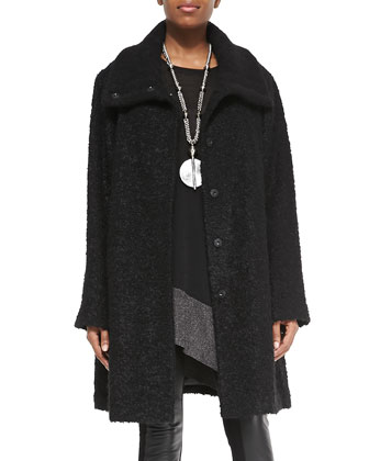 Curly Alpaca Boxy Coat, Black, Women's