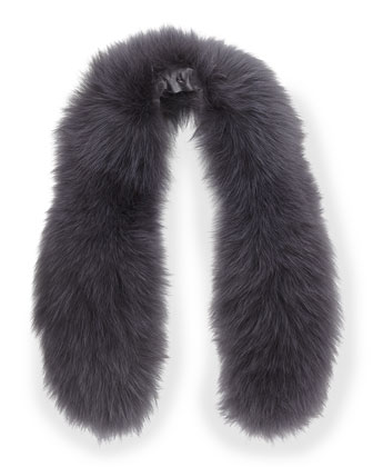 Izzy Fox Fur Collar, Gray