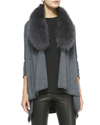 Mix & Match Izzy Open-Front Draped Sweater & Fox Fur Collar