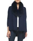 Cashmere-Blend Izzy Open-Front Cardigan, Navy