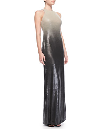 Sleeveless Ombre Sequined Gown
