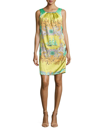 Mixed-Print Silk Shift Dress