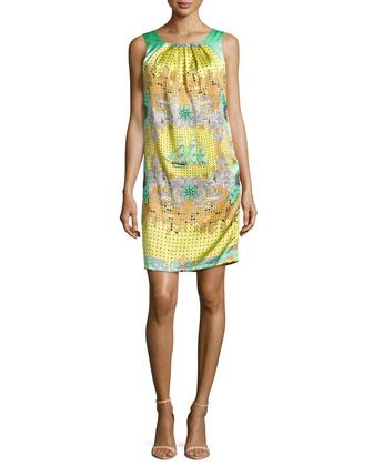 Mixed-Print Silk Shift Dress