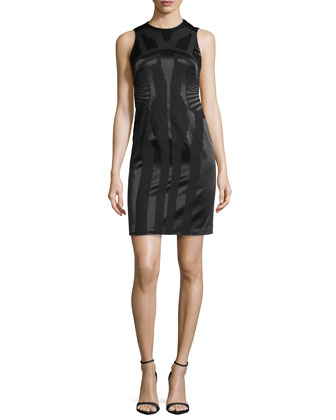 Tonal Jacquard Sheath Dress