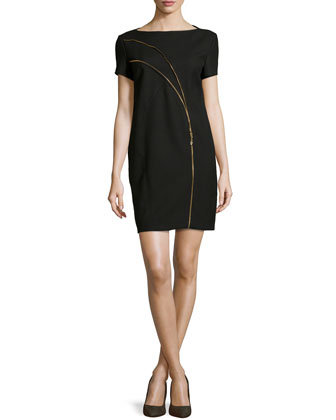 Short-Sleeve Zip-Detail Shift Dress