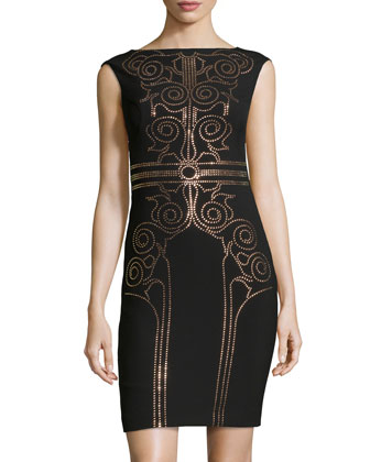 Sequin Scroll Sheath Dress