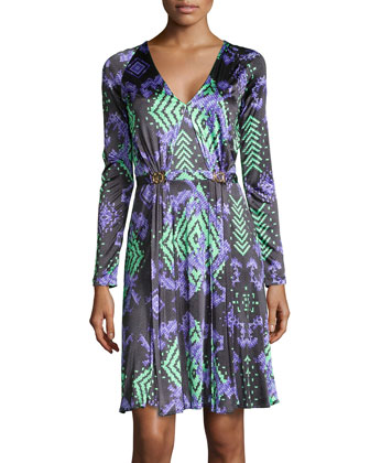 Abito Donna Print Dress w/ Double-Clasp Waist