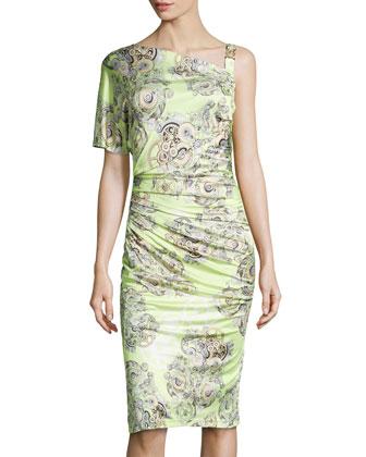 Gear-Print Jewel-Strap Ruched Dress, Green