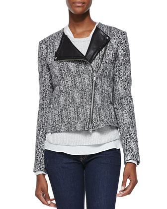 Joean Herringbone Leather-Trim Jacket