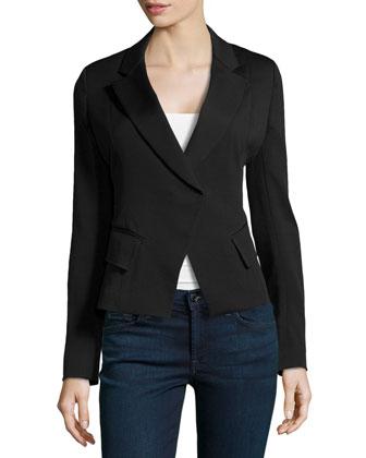 Cutaway Crepe Jacket, Black