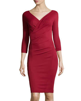3/4-Sleeve Draped Dress, Pomegranate