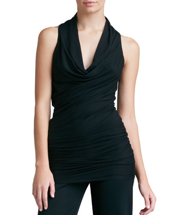 Draped Cowl-Neck Tunic, Black