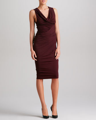 Sleeveless Draped Jersey Dress, Claret