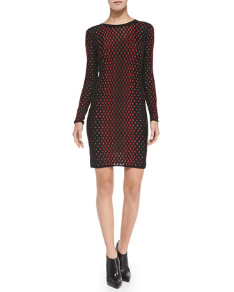 Crewneck Vertical Dash-Print Long-Sleeve Dress