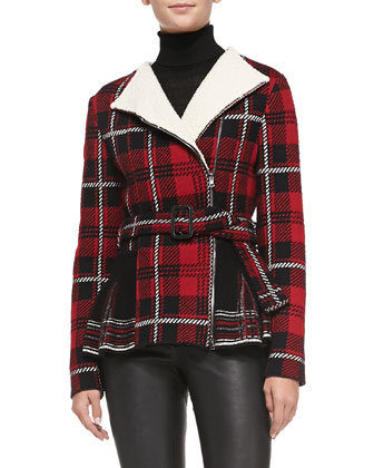 Tartan Plaid Knit Peplum Jacket, Long-Sleeve Ribbed Turtleneck & Leather ...
