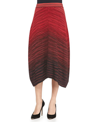 Ombre Space-Dye Midi Skirt