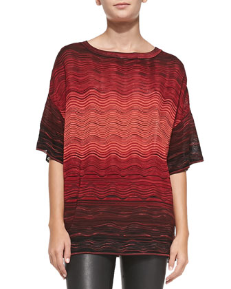 Ripple-Knit Degrade Short-Sleeve Top