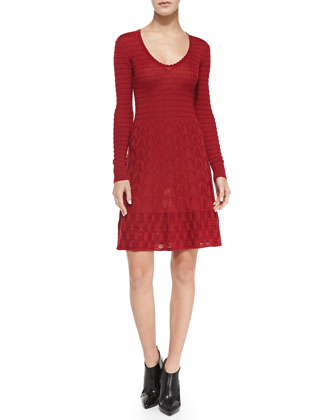 Long-Sleeve Knit Fit-and-Flare Dress