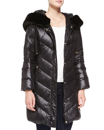 Austin Puffer with Faux Fur-Trimmed Hood