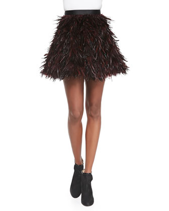 Cina Flared Feather Miniskirt