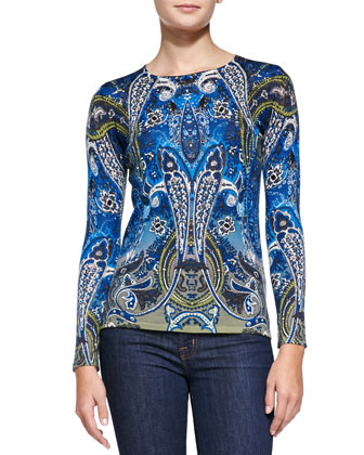 Paisley Merino Wool Long-Sleeve Top