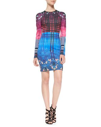 Enchanted Woodlands Long-Sleeve Printed Scuba Dress