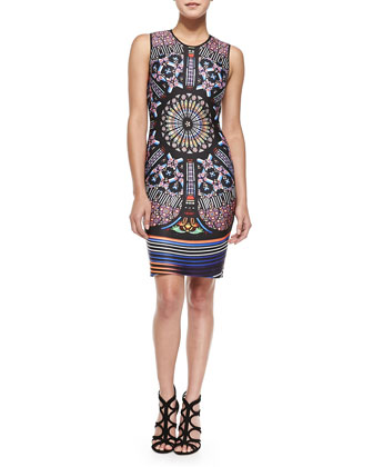 Sleeveless Stained Glass-Print Sheath Dress