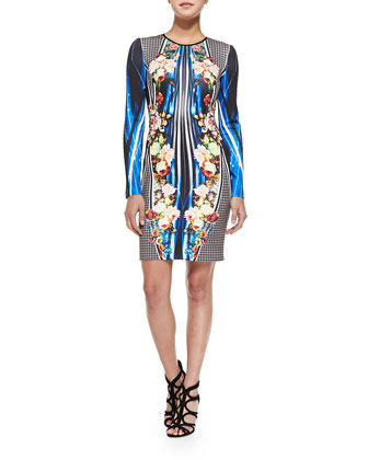 Long-Sleeve Winter Solstice-Print Sheath Dress