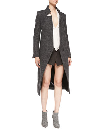 Long-Sleeve Tweed Tuxedo Coat, Drape-Front Loose Silk Blouse & Ultrasuede Skort