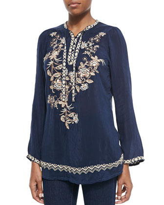 Porcelain Embroidered Georgette Blouse
