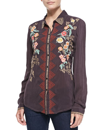 Geranium Embroidered Blouse
