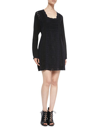 Scalloped Long-Sleeve Dress, Women's