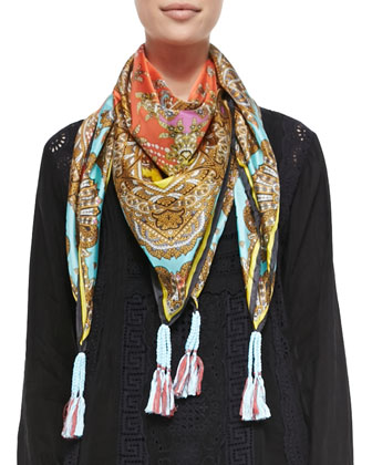 Rich Paisley Printed Silk Scarf