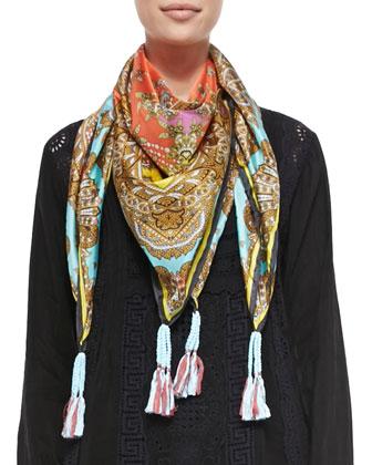 Rich Paisley Printed Silk Scarf & Scalloped Long-Sleeve Dress