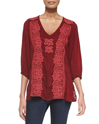 Flower Crochet Tunic & Dragon Printed Silk Scarf