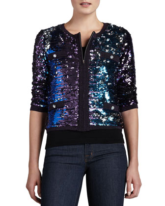 Allover Sequined Jacket, Petite