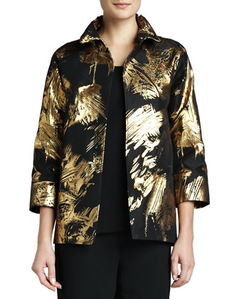 Abstract Painterly Printed Jacket, Petite