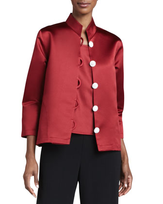 Satin Pave-Button Jacket, Petite