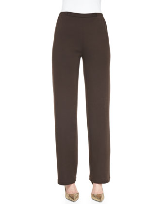 Flat Knit Wool Pants, Chocolate, Petite