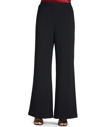 Crepe Wide-Leg Pants, Black, Petite