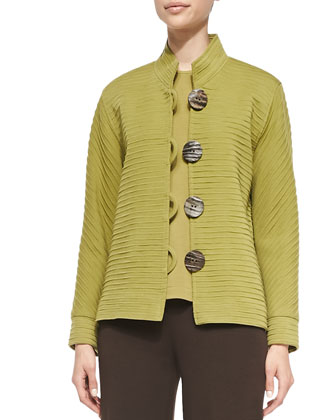 Wool Ottoman Jacket, Sleeveless Crewneck Tank & Flat Knit Wool Pants