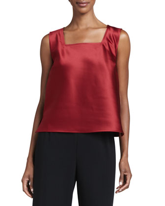 Satin Square-Neck Tank, Women's