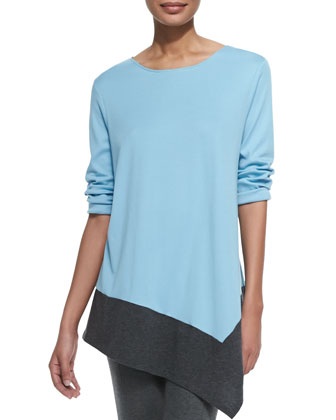 Colorblock Asymmetric Knit Tunic, Petite