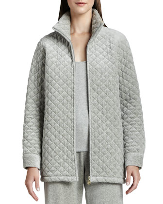 Quilted Velour Long Jacket, Women's