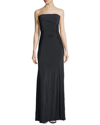 Strapless Fringed Lace-Overlay Gown, Charcoal